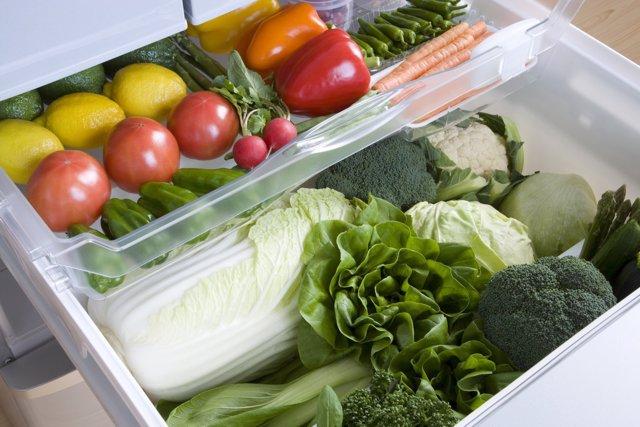 Vegetales, verdura, hortalizas, nevera, frigorífico
