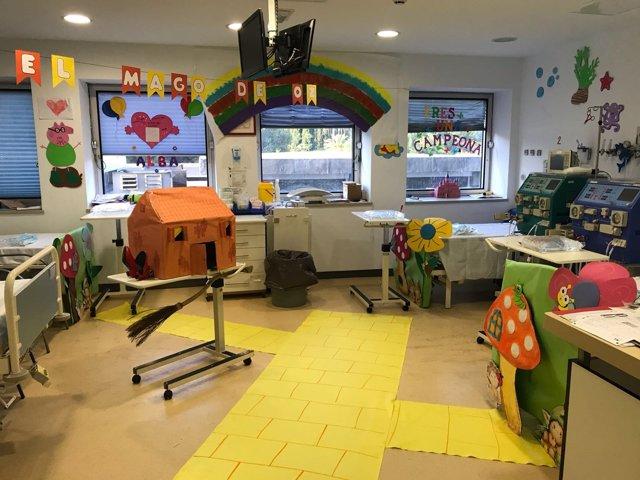 Aula habitación hospital hospitalaria educación maestras decoración salud sanida