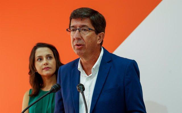 Juan Marín, en rueda de prensa junto a Inés Arrimadas