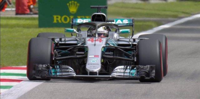 Lewis Hamilton (Mercedes), en el circuito de Monza