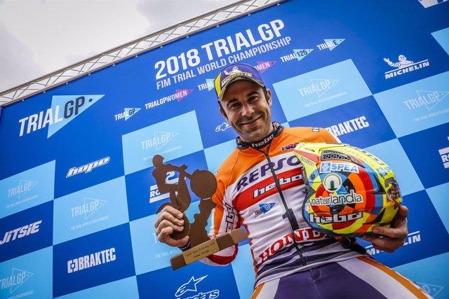 Toni Bou (Repsol Honda), tras proclamarse campeón del mundo de TrialGP