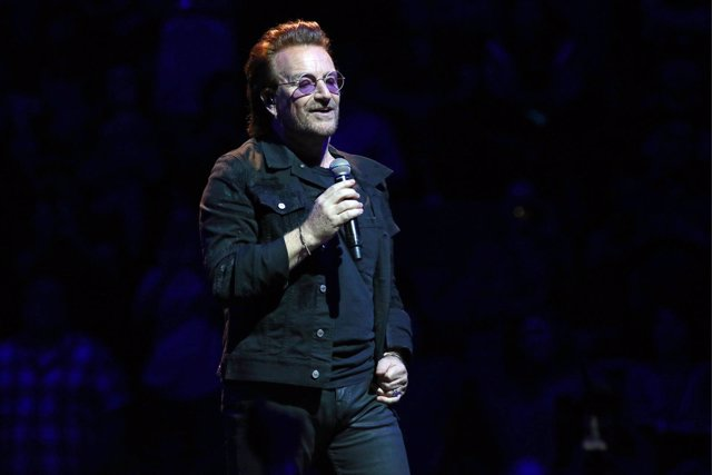 Bono of U2 performs in concert at Madison Square Garden in New York