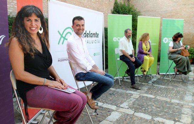 Teresa Rodríguez y Antonio Maíllo presentando 'Adelante Andalucía'