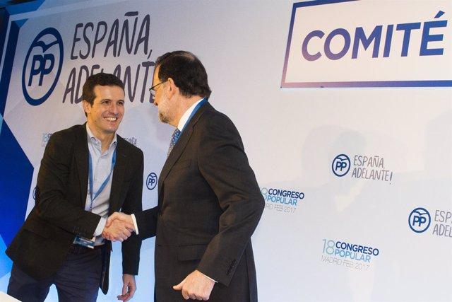 Pablo Casado y Mariano Rajoy en el Congreso del PP