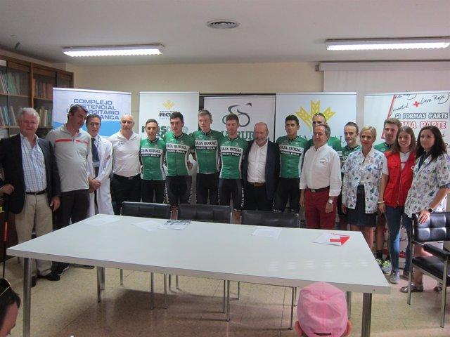 Ciclistas del equipo Caja Rural en Salamanca. 3-9-2018