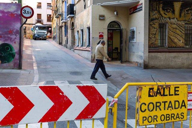 Calle cortada por obras