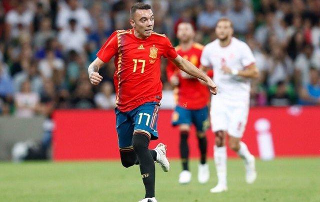 Iago Aspas, con la camiseta de la selección española