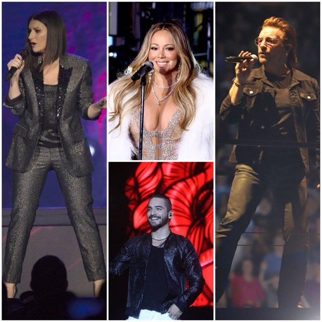 LAURA PAUSINI, MARIAH CAREY, MALUMA Y BONO DE U2