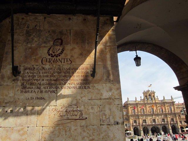 Nueva inscripción sobre Miguel de Cervantes.