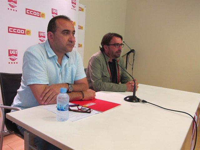 Los secr.Generales de CC.OO y UGT de Catalunya, Javier Pacheco y Camil Ros