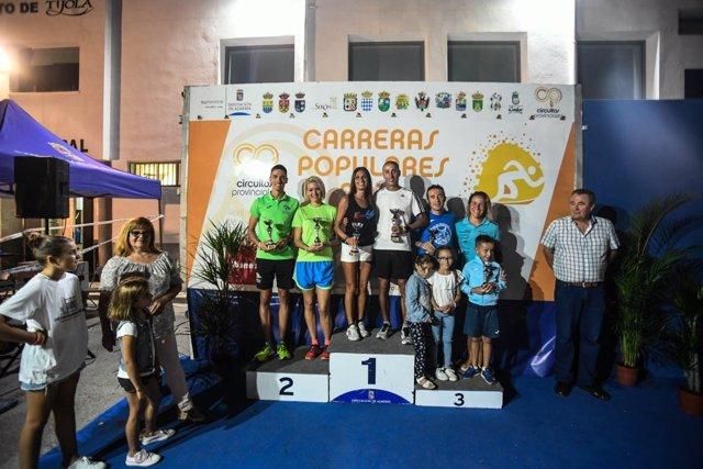 Los campeones de la 12ª prueba del Circuito Provincial de Carreras Populares.