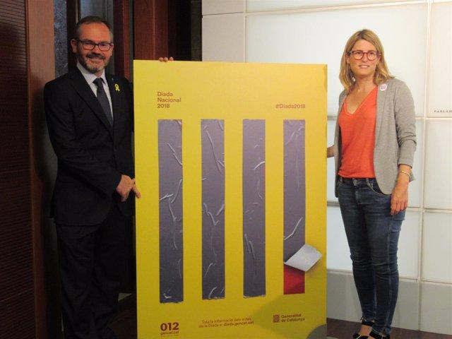 Josep Costa (JxCat) Consellera Elsa Artadi presentan la Diada 2018