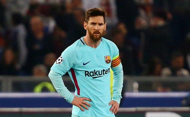 Leo Messi durante el AS Roma-FC Barcelona