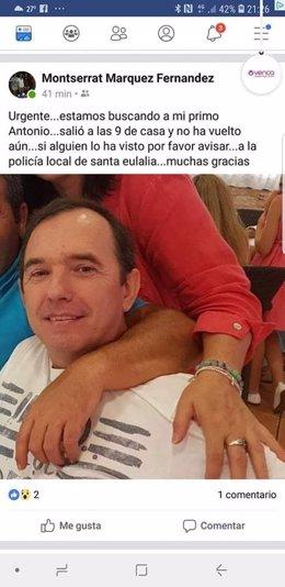 Foto del hombre desaparecido en Sana Eulària distribuida por la familia