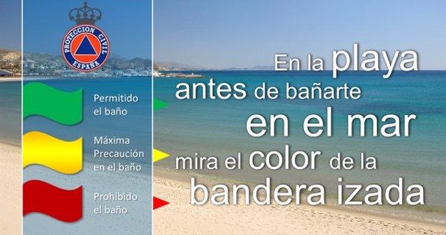 Bandera, playa, verano, calor, consejos