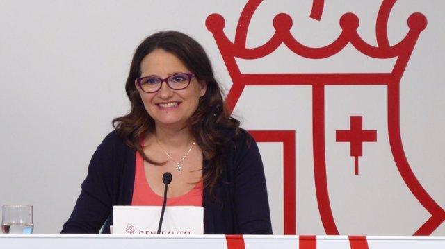 La vicepresidenta de la Generalitat, Mónica Oltra, en rueda de prensa