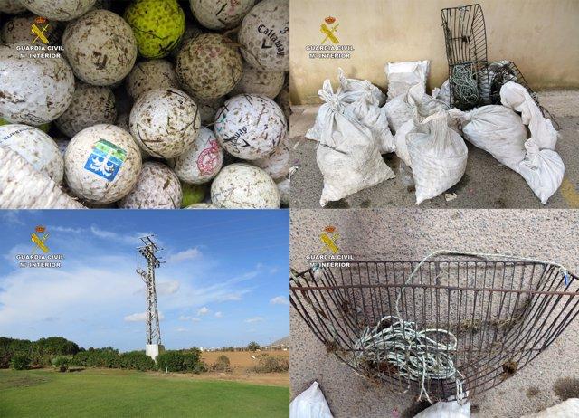 Imagen de las bolas de golf recuperadas