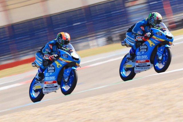 Los pilotos españoles de Moto 3 Arón Canet y Alonso López (Estrella Galicia 0,0)