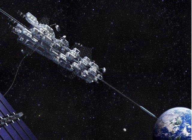 Recreación artística del proyecto de ascensor espacial de Obayashi Corp.