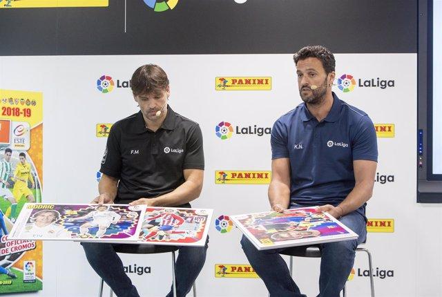 Kiko Narváez y Fernando Morientes en la presentación de cromos de Panini