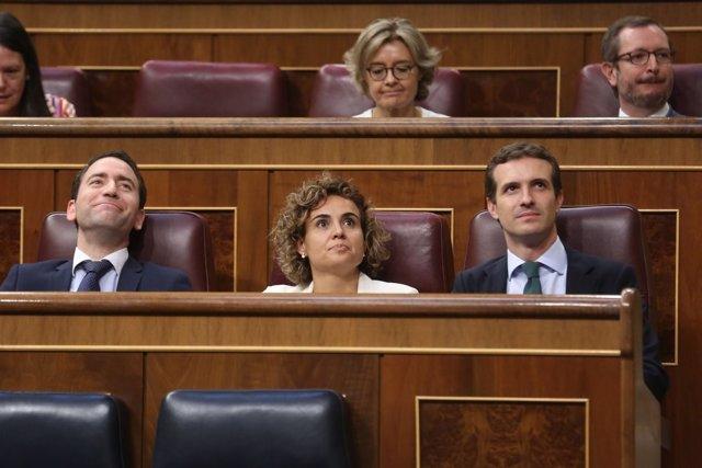 Casado, Montserrat y García Egea en el Pleno del Congreso