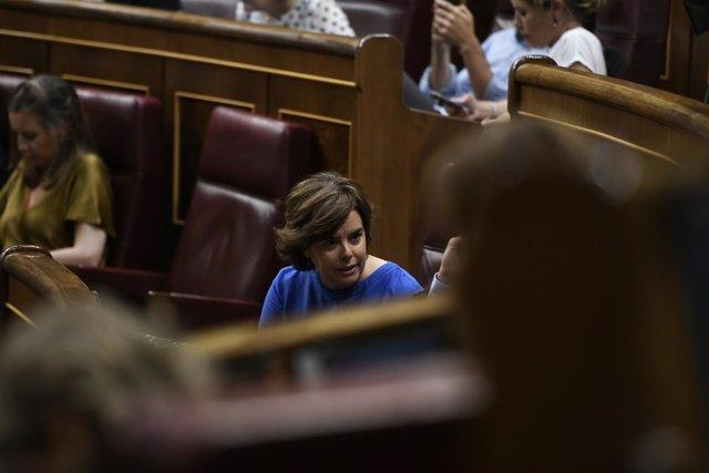 Soraya Sáenz de Santamaría, en un Pleno del Congreso