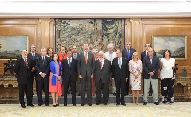 El Rey Felipe VI recibe en audiencia a la Sociedad Geográfica Española