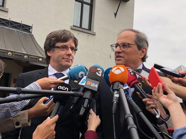 Quim Torra y Carles Puigdemont en Waterloo, Bélgica
