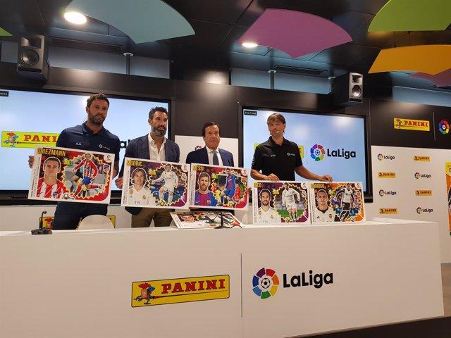Kiko, Fernando Sanz y Morientes en un acto de Panini en LaLiga