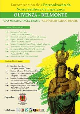 """Cartel del evento """"Una mirada hacia Brasil"""" en Olivenza"""