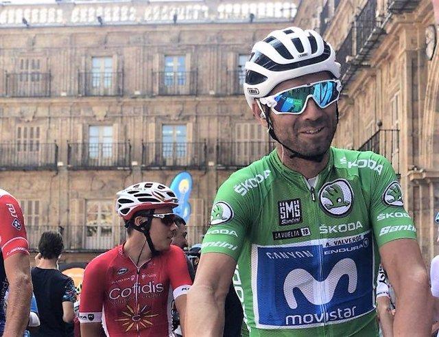 El ciclista español Alejandro Valverde en la Vuelta a España