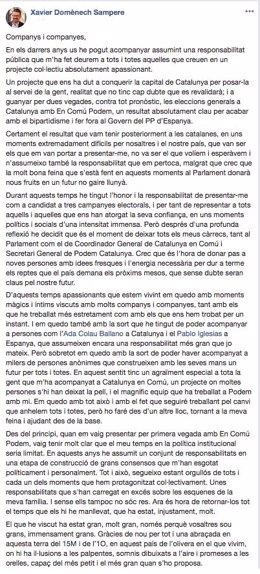 Mensaje de Facebook en que Xavier Domènech anuncia su retirada de la política