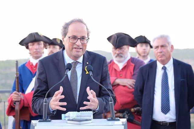 El presidente de la Generalitat, Quim Torra, durante su discurso en Talamanca