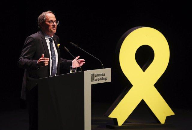Quim Torra ofrece una conferencia en el teatro nacional de Cataluña