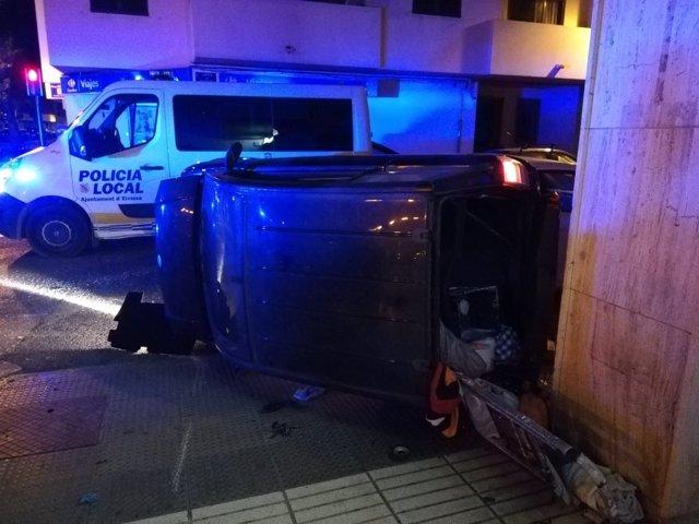 Accidente de tráfico en Ibiza provocado por un conductor ebrio y drogado