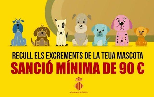 Cullera multará con 90€ a quien no recoja los excrementos de mascotas