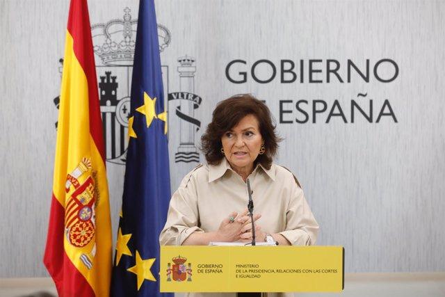 La vicepresidenta del Gobierno, Carmen Calvo, preside la reunión de la Conferenc