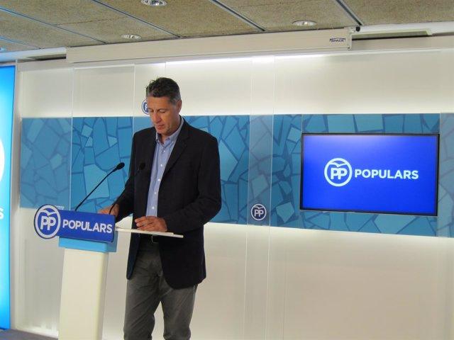 El presidente del PP de Catalunya, Xavier García Albiol, en rueda de prensa