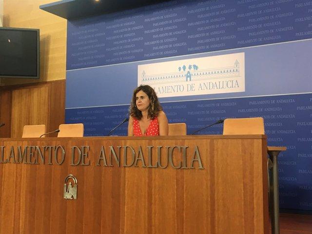 Esperanza Gómez, de Podemos Andalucía, en rueda de prensa