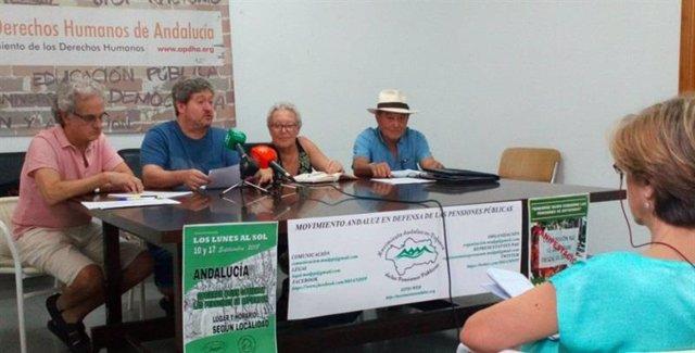 Rueda de prensa en Sevilla del Movimiento Andaluz en Defensa de las Pensiones