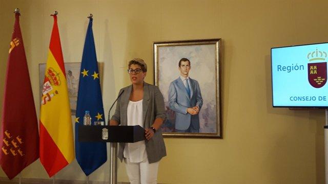 La portavoz del Gobierno regional, en la rueda de prensa