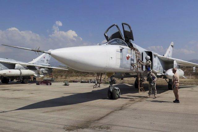 Avión ruso Su-24 en Siria