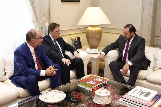 Lambán se ha reunido con Ábalos y Puig en Madrid.