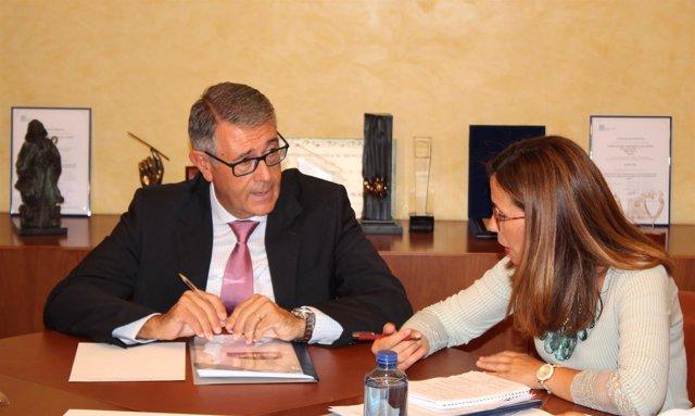 Reunión Ana Belén Castejón, alcaldesa Cartagena con presidente CHS, Mario Urrea