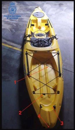 El kayak robado, que fue puesto a la venta en una plataforma digital