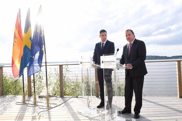 Pedro Sanchez con el primer ministro sueco Stefan Lofven