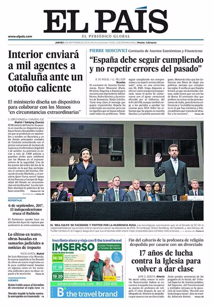 Las portadas de los periódicos del 6 de septiembre de 2018