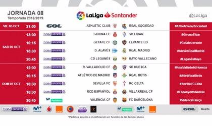 El derbi vasco se disputará el viernes 5 y el Barcelona visitará Mestalla el domingo 7