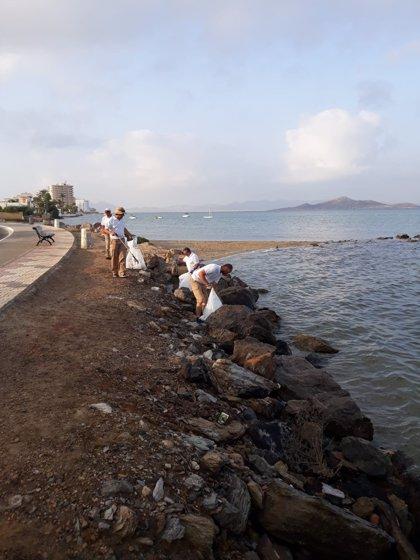 Medio Ambiente limpia 9m3 de plásticos y colillas de los espigones junto al puerto de Tomás Maestre en La Manga