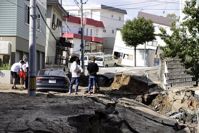 Daños causados por el terremoto en Sapporo, Japón